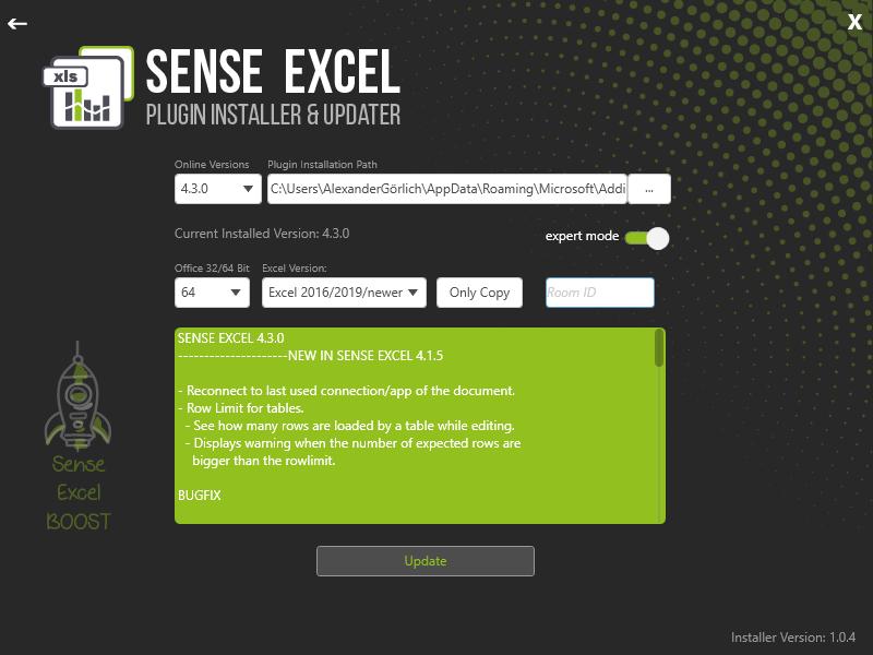 Sense Excel Installer-ExpertMode