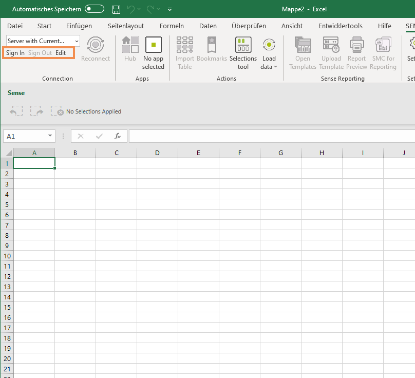 Sense Excel UserInterface-Connection-Overview
